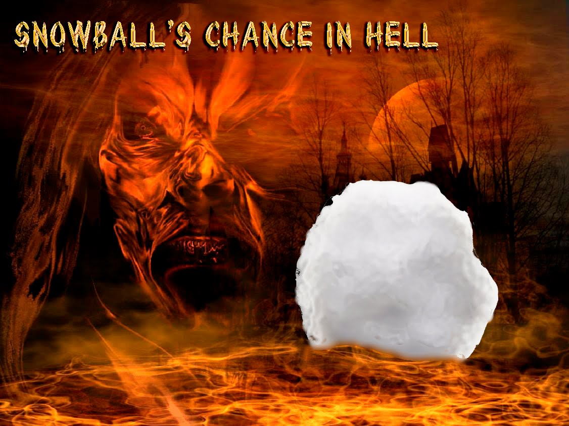 Image result for snowball's chance in hell