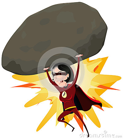 comic-super-girl-throwing-big-rock-27572539